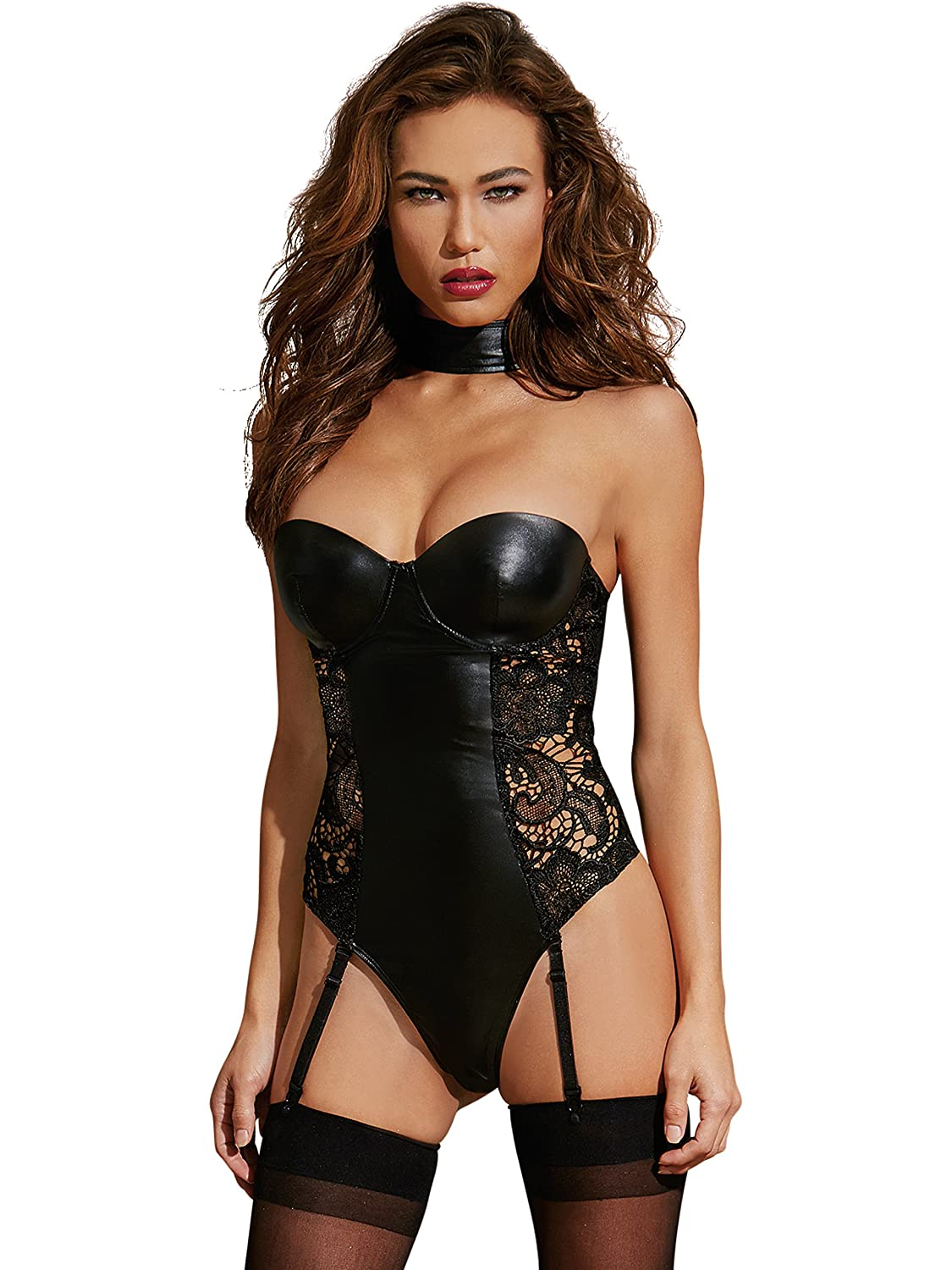 89f3ad89b Amazon.com  Dreamgirl Women s Faux-Leather and Lace Teddy  Clothing