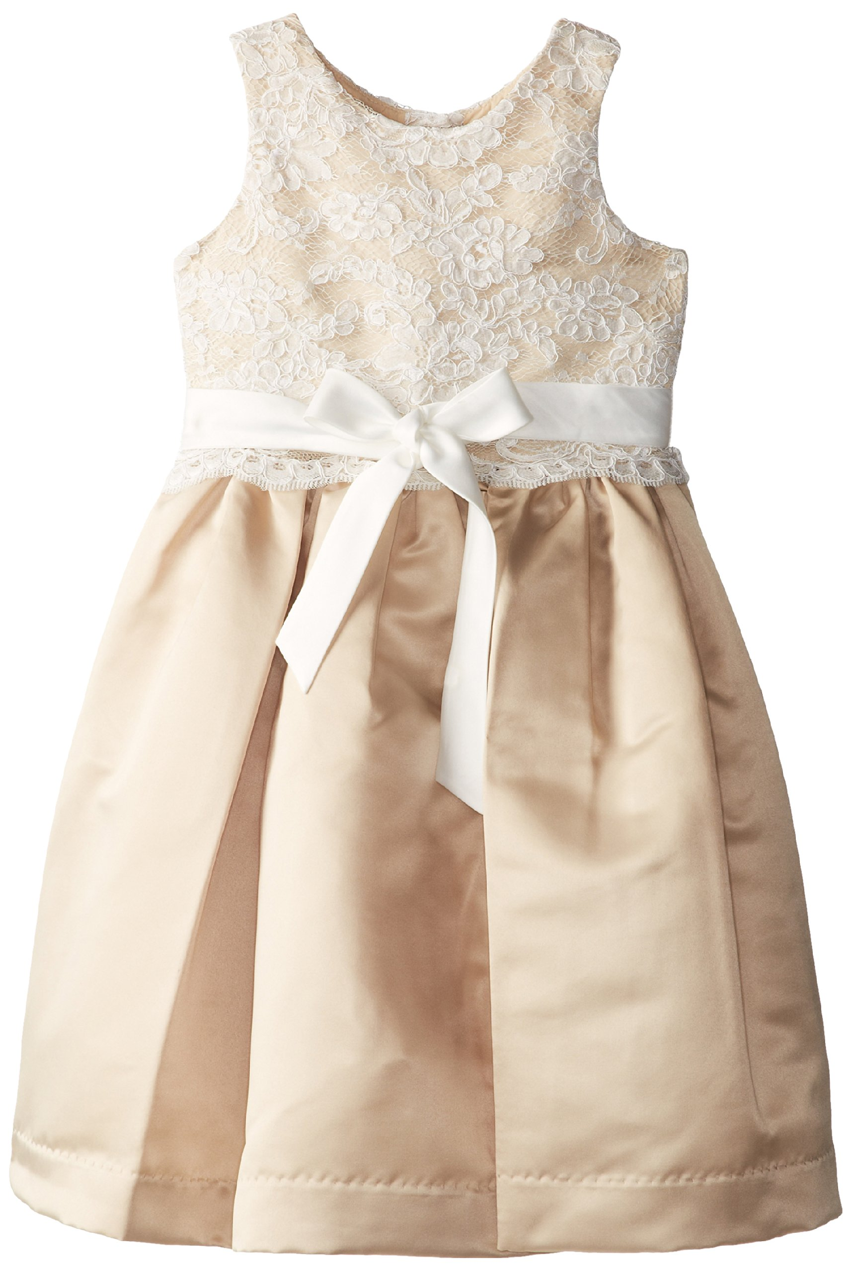 Us Angels Little Girls' Dress Lace Overlay with Satin Skirt, Ivory/Champagne, 6