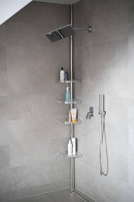 Baño Estante Estantería esquinera – Estantería de 4 estantes Plata Brillante  70 – 290 cm de ec50a22df112
