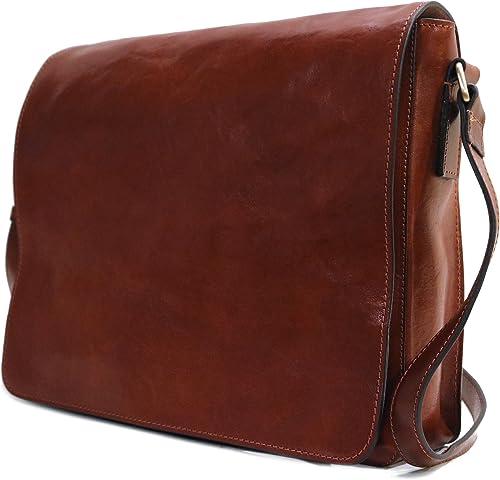 Floto Firenze Messenger Bag in Brown Full Grain Calfskin Leather – Large