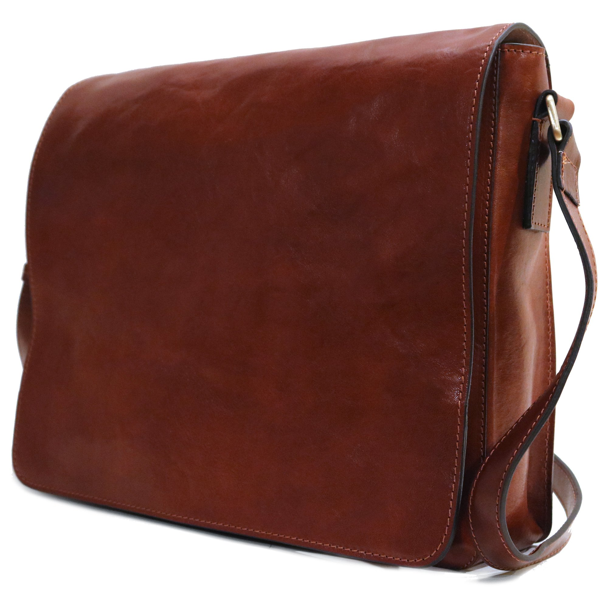Floto Firenze Messenger Bag in Brown Full Grain Calfskin Leather - Large