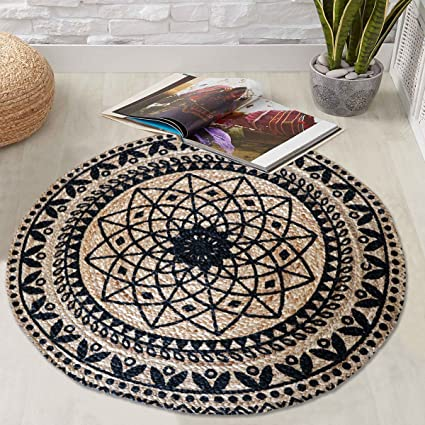 The Home Talk Printed Round Rangoli Jute Braided Doormat, 90cm Diameter(Beige and Black)