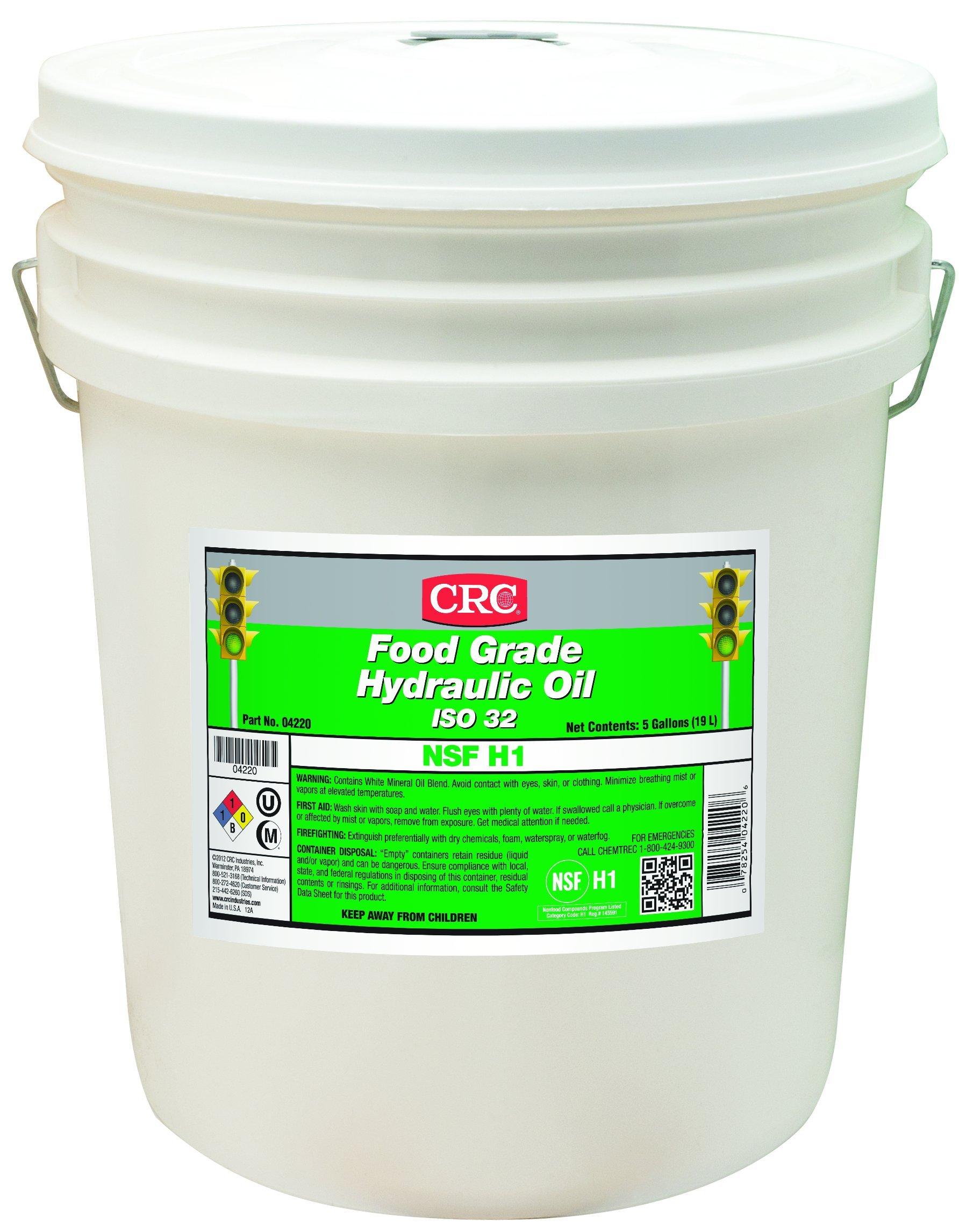 CRC Food Grade Hydraulic Oil, -10 to 325 Degrees F Temperature Range, 5 Gallon Pail, ISO 32