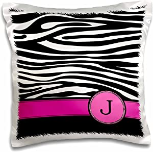 """3dRose Letter J Monogrammed Black and White Zebra Stripes Animal Print with Hot Pink Personalized Initial-Pillow Case, 16 by 16"""" (pc_154281_1)"""