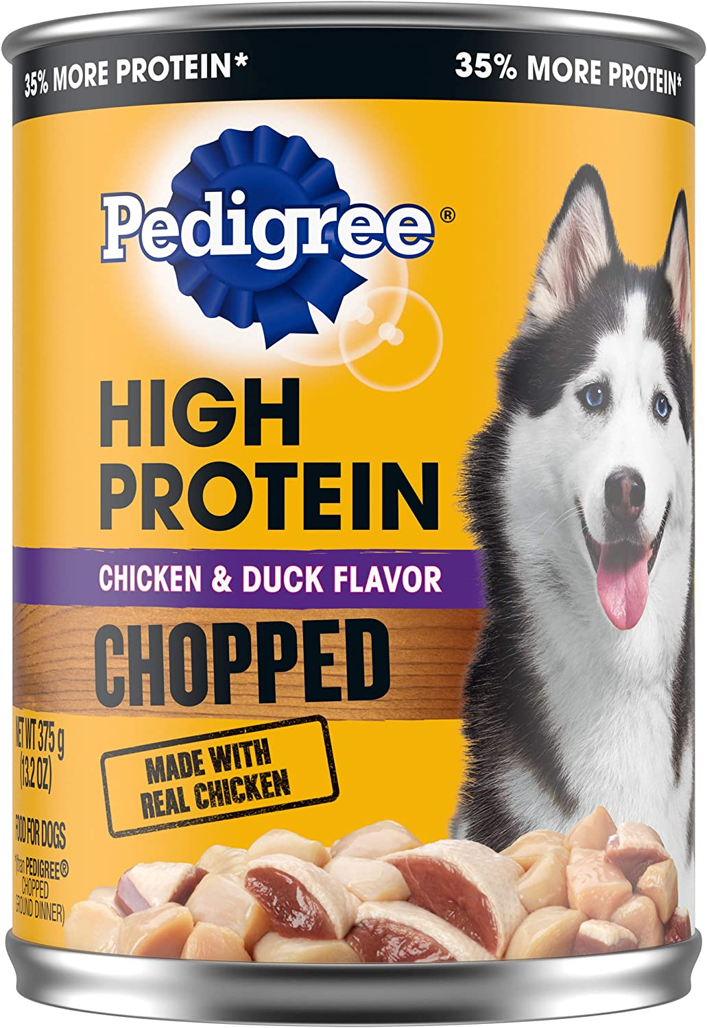 PEDIGREE High Protein Adult Canned Soft Wet Dog Food, Chopped Chicken & Duck Flavor, (12) 13.2 oz. Cans