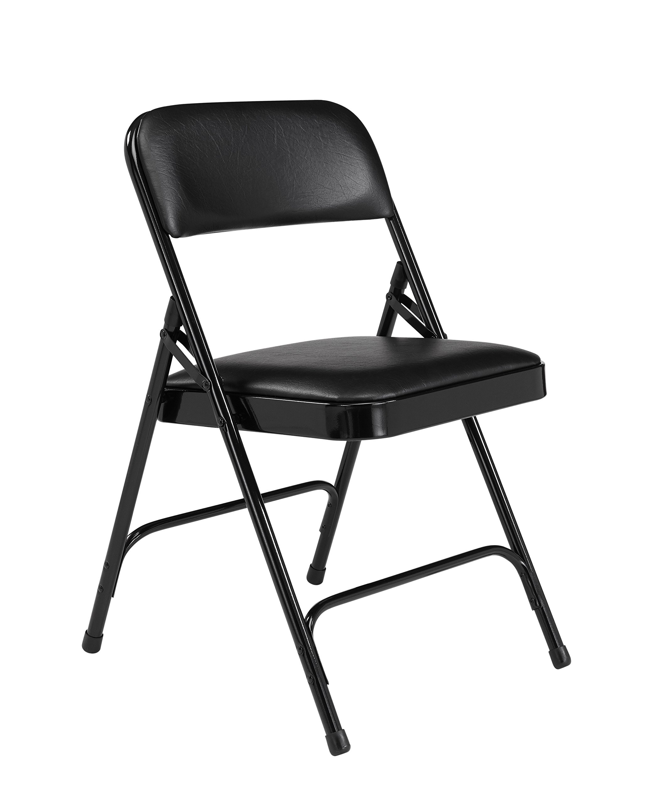 National Public Seating 1200 Series Steel Frame Upholstered Premium Vinyl Seat and Back Folding Chair with Double Brace, 480 lbs Capacity, Caviar Black/Black (Carton of 4)