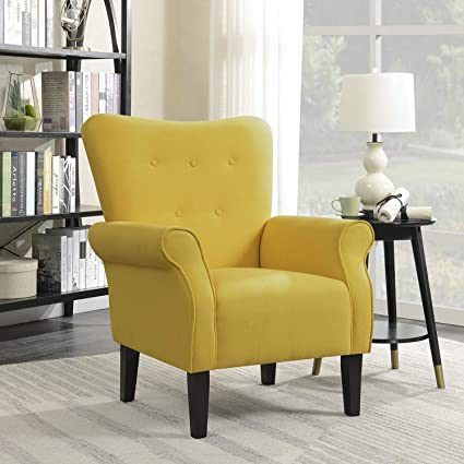 Amazoncom Belleze Modern Accent Chair Roll Arm Linen Living Room