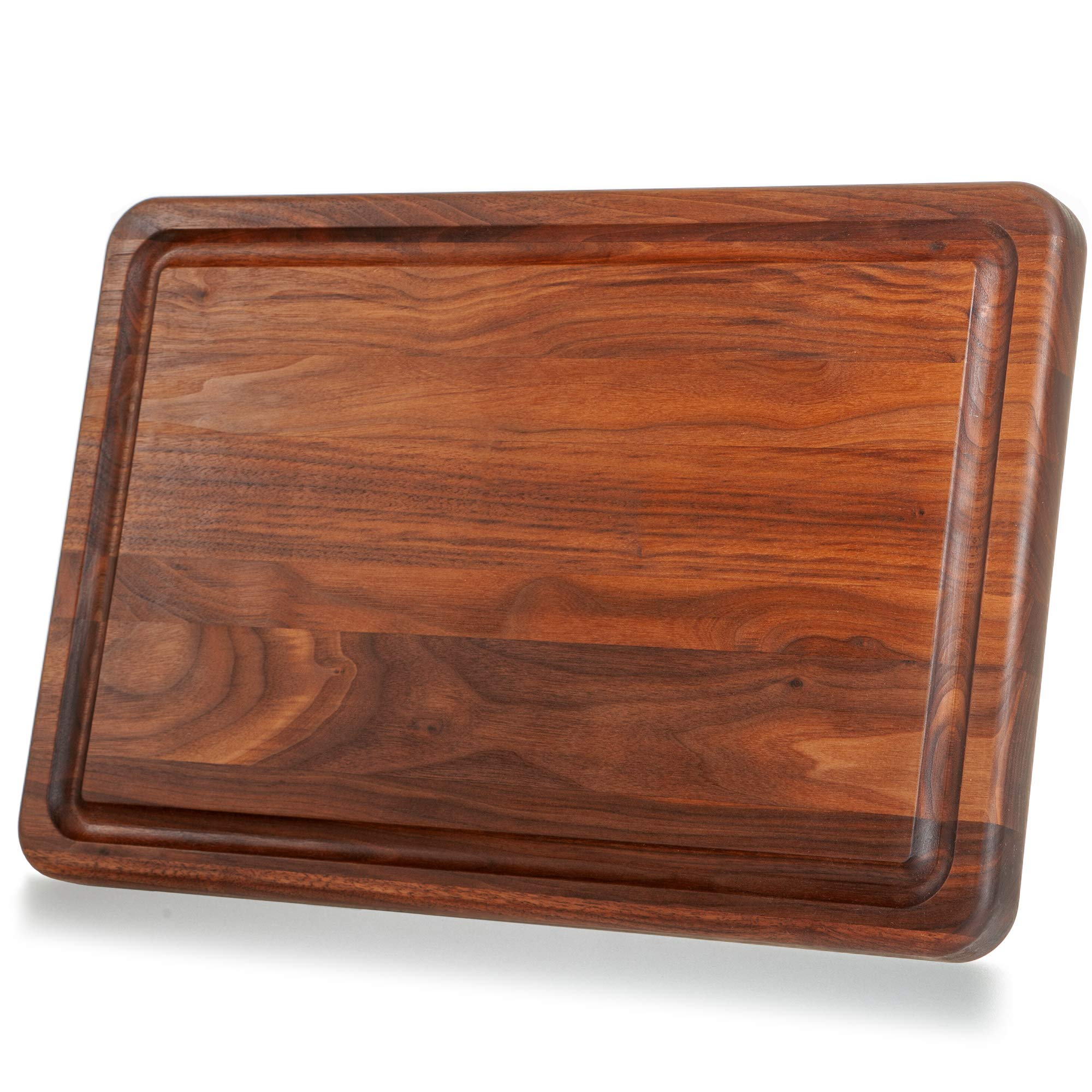 Large Walnut Wood Butcher Block by Mevell with Juice Drip Groove, Big Hardwood Chopping and Carving Countertop Block, Made in Canada (Walnut, 18x12x1.25)
