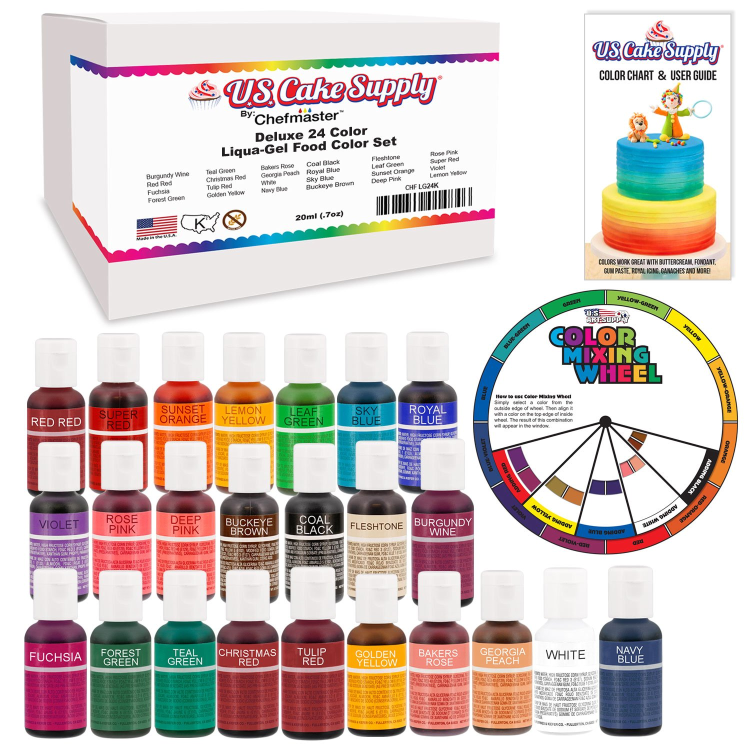 24 Color Cake Food Coloring Liqua-Gel Decorating Baking Primary & Secondary Colors Deluxe Set - U.S. Cake Supply 0.75 fl. oz. (20ml) Bottles