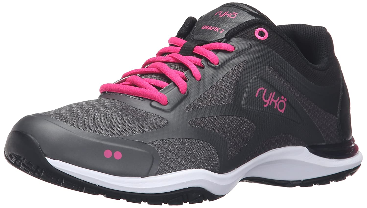 Black Grey Pink Ryka Womens Grafik 2 Cross-Trainer shoes