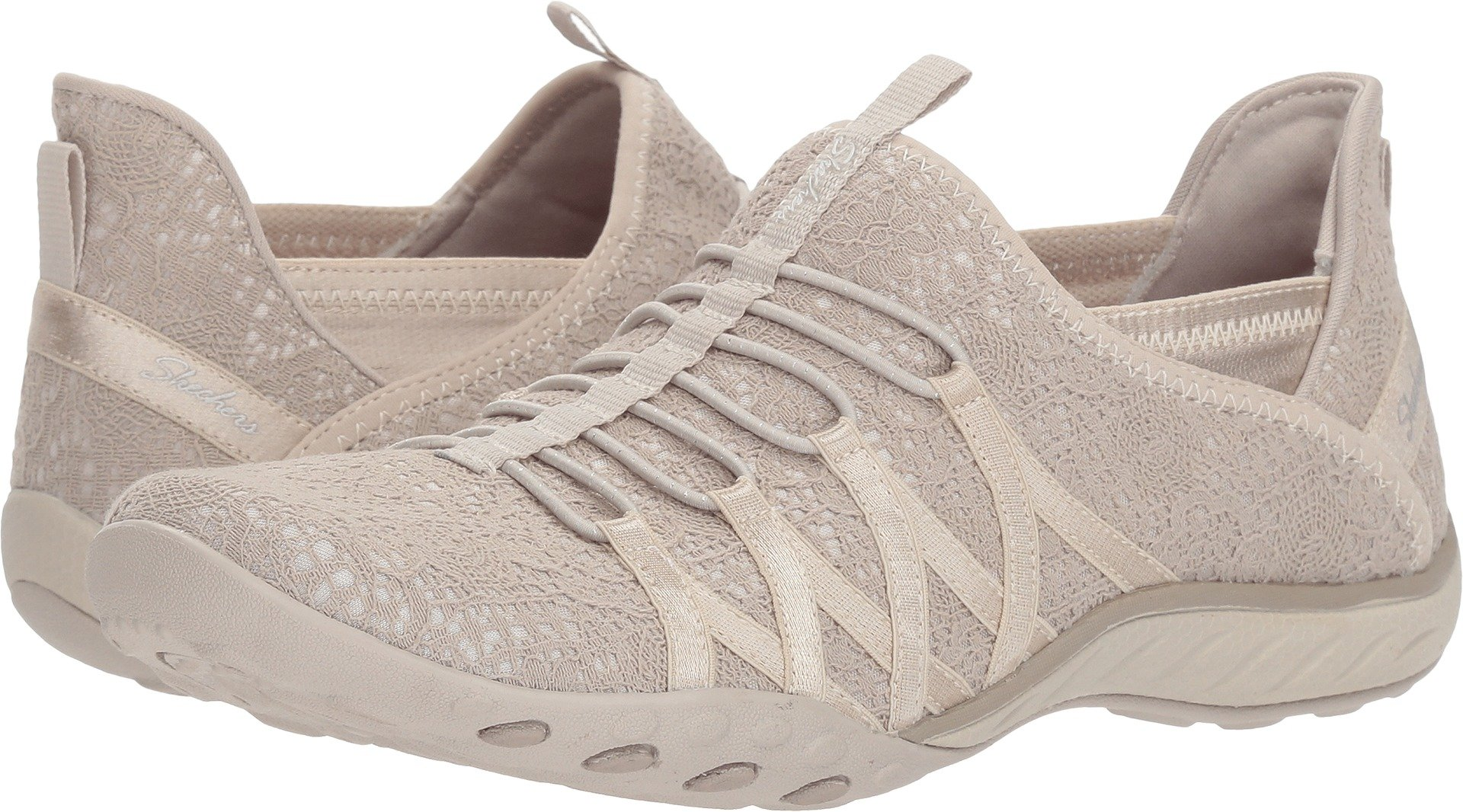 Skechers Relaxed Fit Breathe Easy Harmonia Womens Slip On Bungee Sneakers Natural 5.5