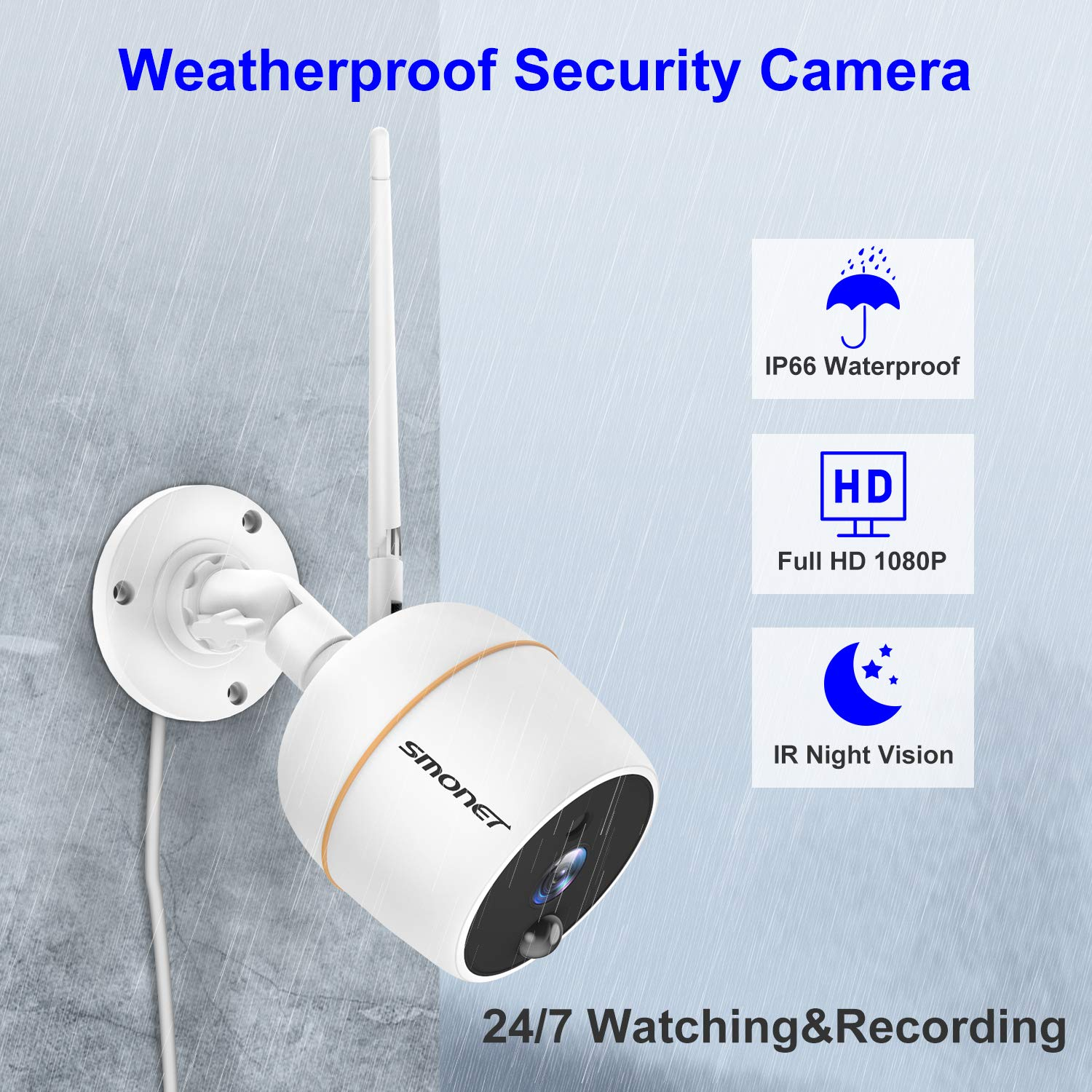 With 2PCS 1080P WiFi Outdoor Security Camera,Two-Way Audio,PIR Motion Detection,Easy Remote View 【PLUG/&PLAY】4CH Wireless Security Camera System,SMONET 7 Touchscreen NVR Monitor 32G TF Card Included