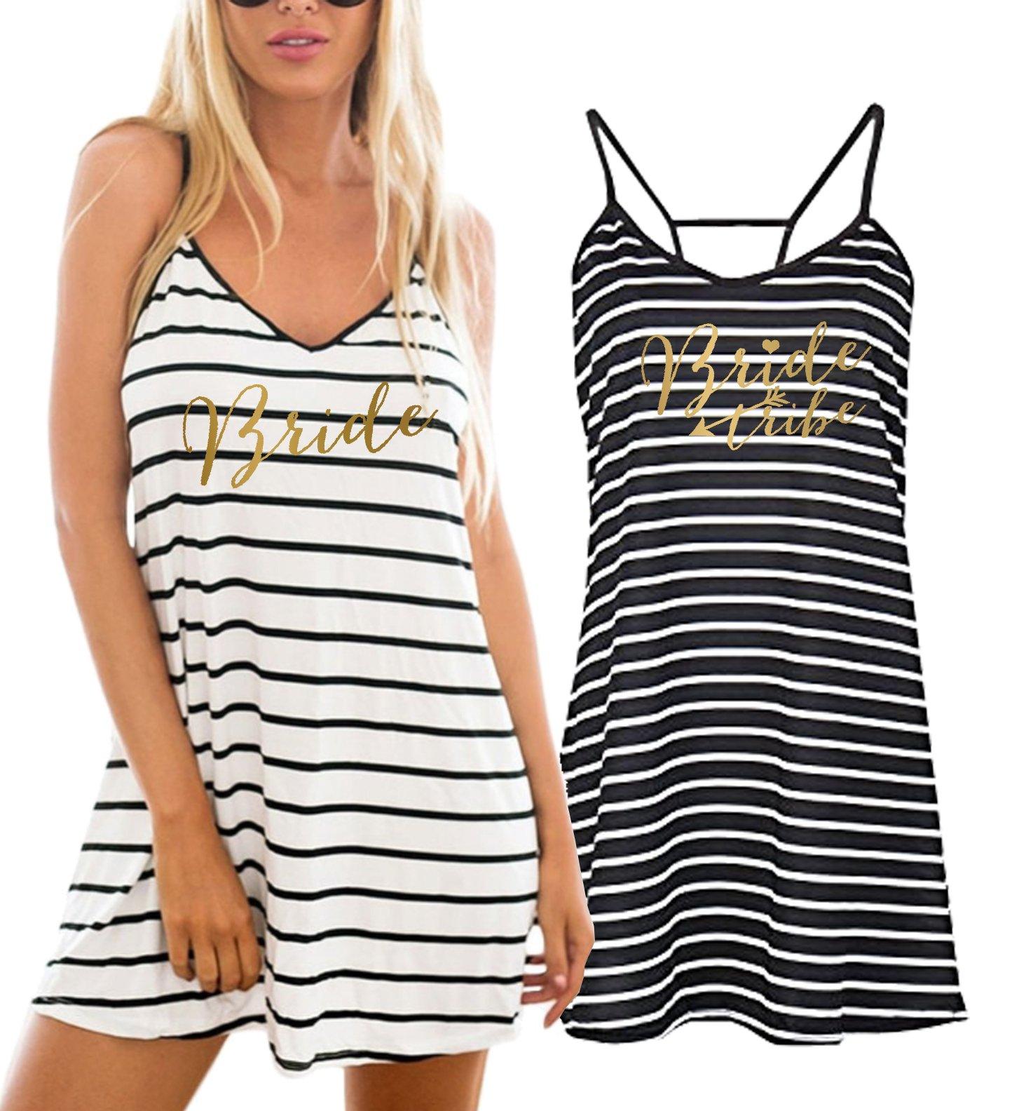Gold Bride Bride Tribe Striped Swimsuit Cover up Beach Dress (Black W/White Stripe - Bride Tribe,2X,)
