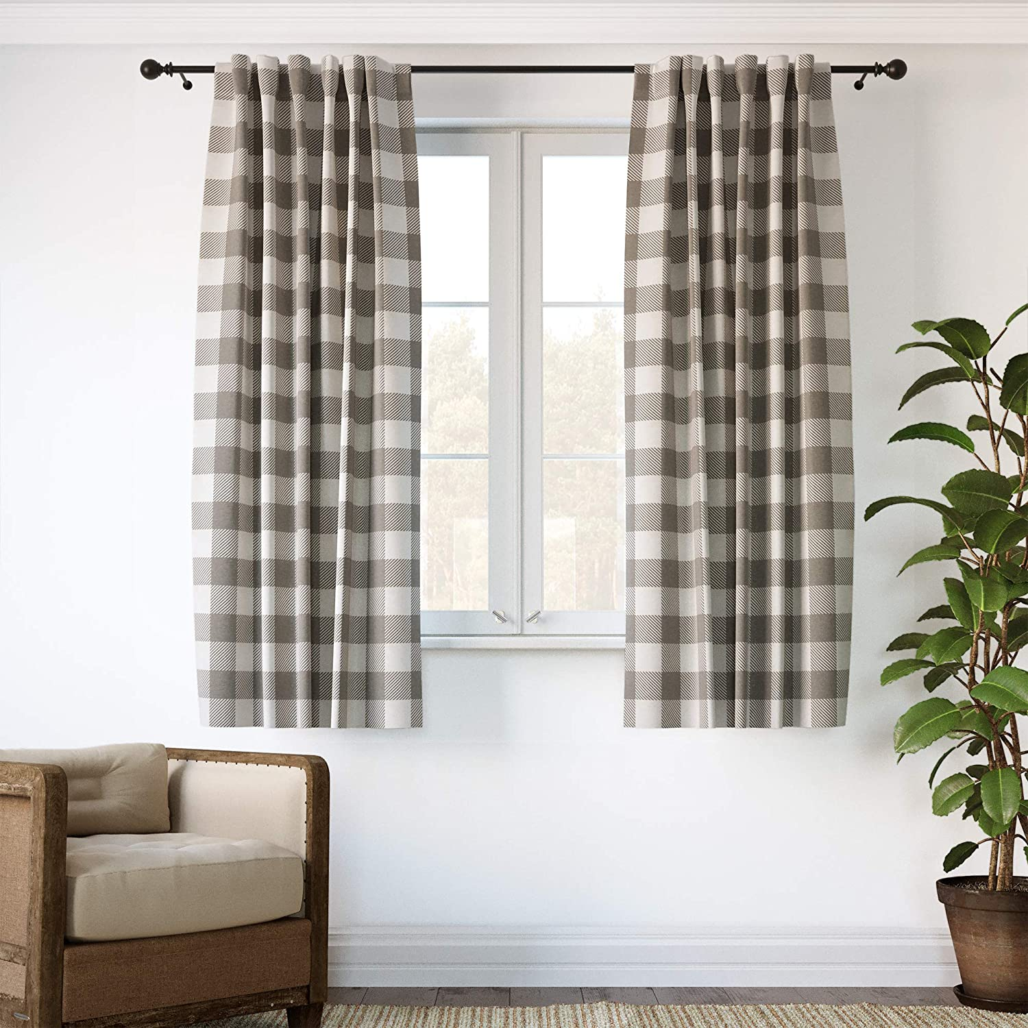 """Barnyard Designs Buffalo Plaid Window Curtain Panels for Kitchen, Living Room, Bedroom, Grey and Ivory Gingham Check Rod Pocket Curtains, Farmhouse Country Home Decor, 52"""" x 72"""", Set of 2"""