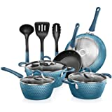 NutriChef Nonstick Cookware Excilon   Home Kitchen Ware Pots & Pan Set with Saucepan, Frying Pans, Cooking Pots, Lids, Utensi