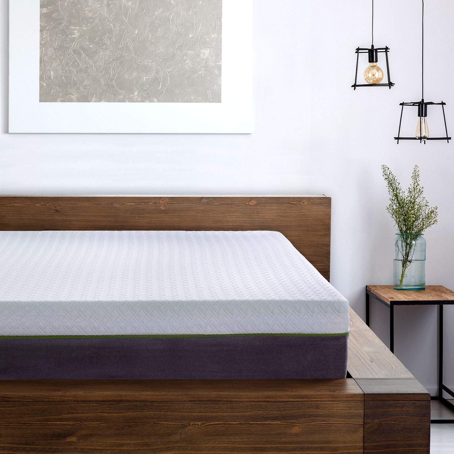 Furinno Angeland 8-Inch Bamboo Charcoal Infused Memory Foam Mattress, Queen,