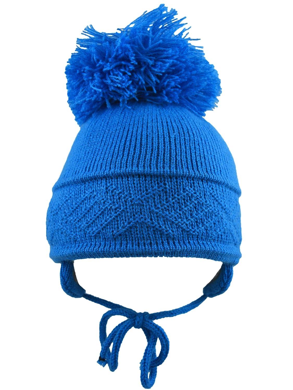 Pesci Baby Pom Pom Hat Diamond Pattern (6-12 Months, Royal Blue) CL4202