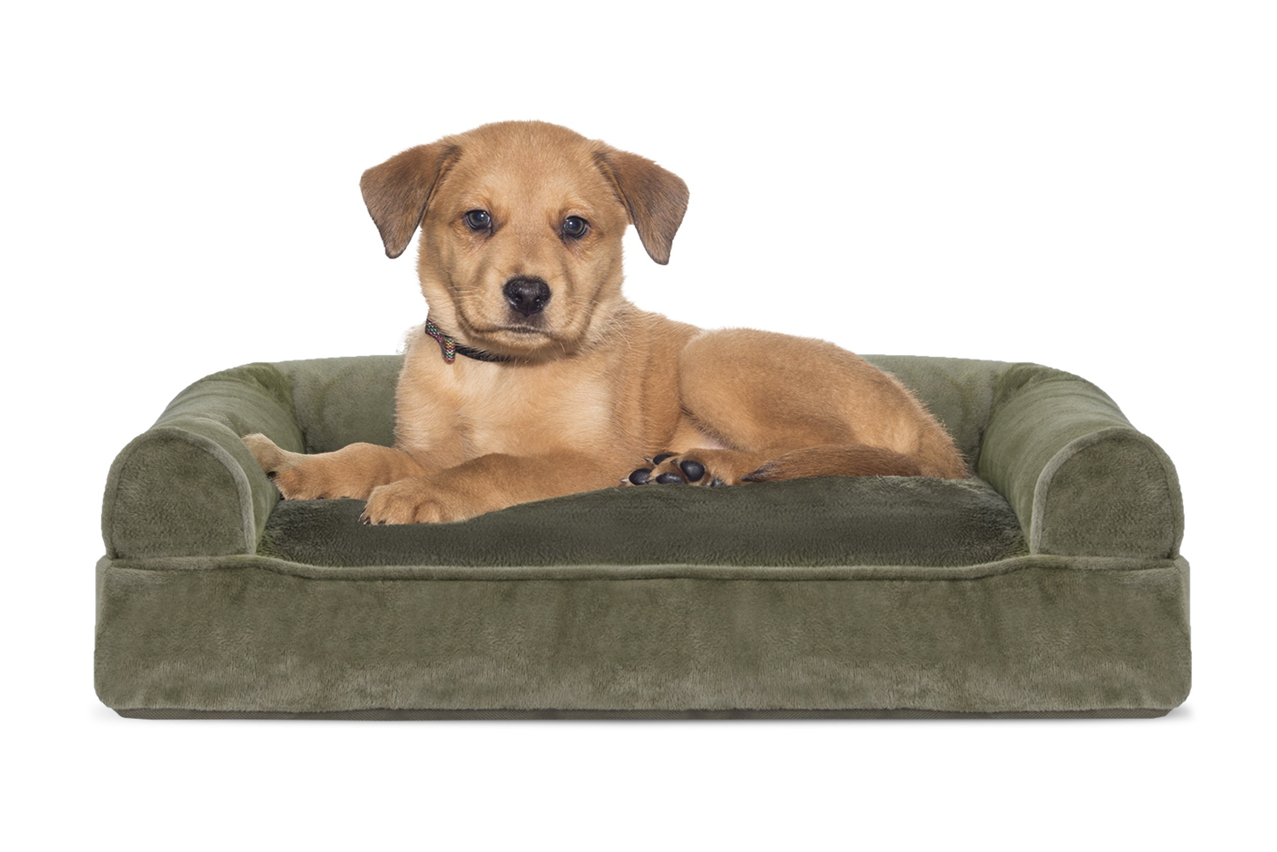 Furhaven Pet Dog Bed   Faux Fur & Velvet Pillow Sofa-Style Couch Pet Bed for Dogs & Cats, Dark Sage, Small