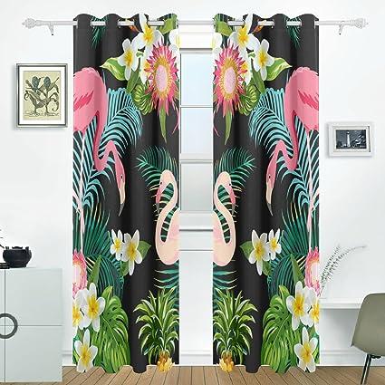 JSTEL - Cortinas tropicales de flamencos con palmas y plantas en la parte trasera, paneles