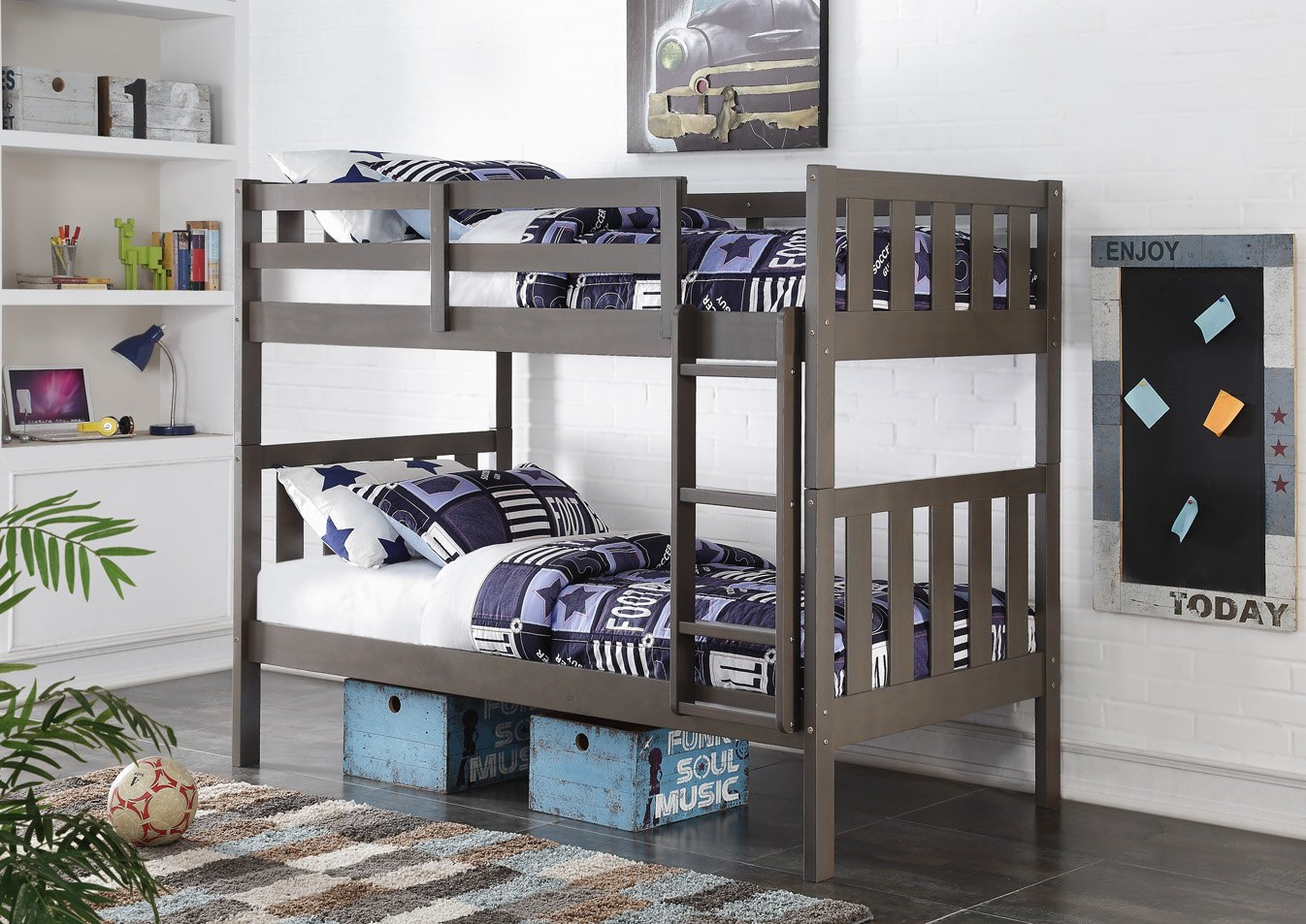 DONCO Kids Louver Bunk Bed, Twin Twin, Slate Gray