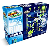 Marble Genius Marble Run Space Starter Set - Glow-in-The-Dark - 130 Complete Pieces + Free Instruction App (80 Translucent Marbulous Pieces + 50 Marbles)