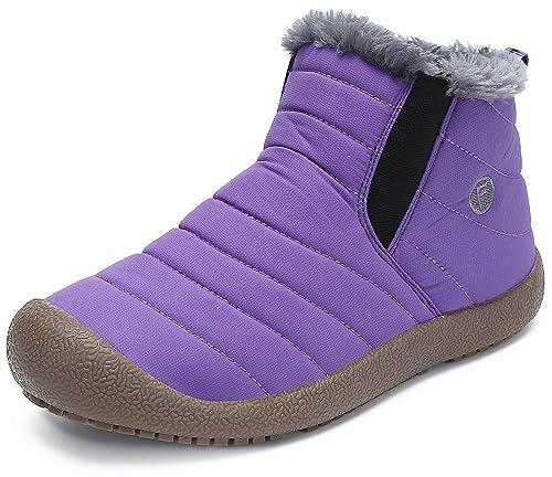 Botas Hombre Mujer Botines de Nieve Forradas de Piel Zapatos Invierno Calientes Cómodas,Morado 37: Amazon.es: Zapatos y complementos
