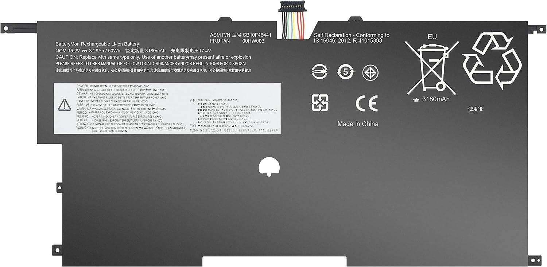 BatteryMon 00HW003 Battery for Lenovo ThinkPad X1 Carbon Gen 3 Series 2015 Laptop, P/N: 00HW002 SB10F46440 SB10F46441-15.2V 50Wh 4Cell
