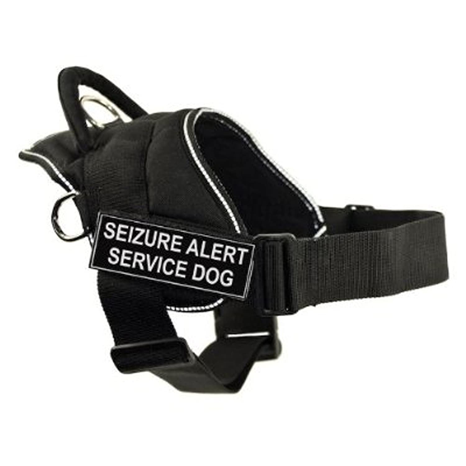 Dean & Tyler DT Fun Works Harness, Seizure Alert Service Dog, Black With Reflective Trim, X-Small Fits Girth Size  20-Inch to 23-Inch