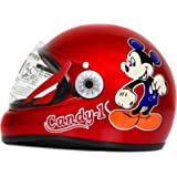 ACTIVE Junior Full Face Helmet for Kids from 3 to 6 Years (RED,Size-Extra Small)(CARTOON CHARACTERs MAY VERY) (RED)