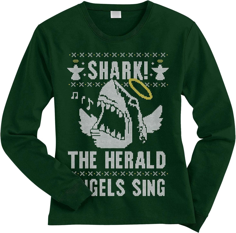 Threadrock Women's Shark! The Herald Angels Sing Long Sleeve T-Shirt