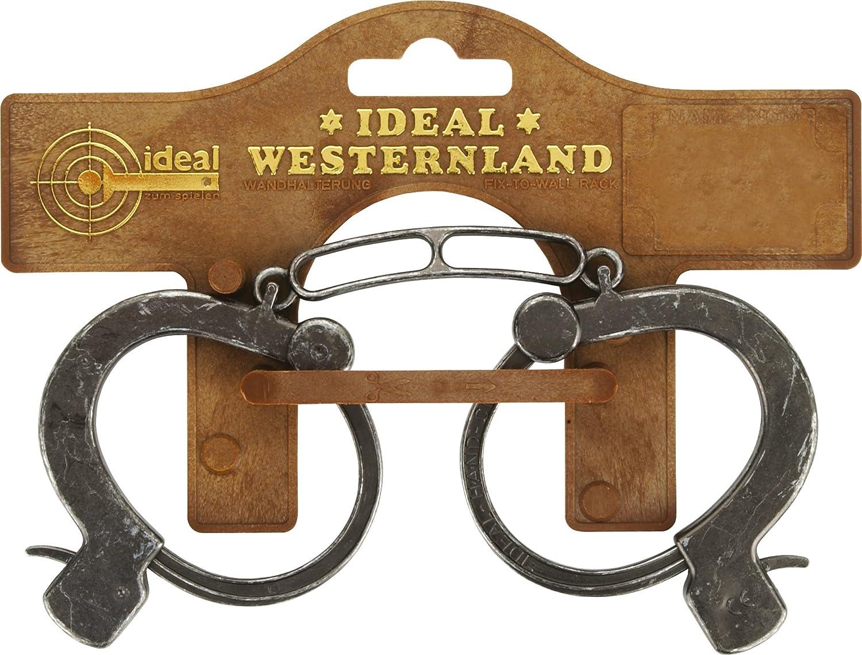 J.G.Schrödel Handschellen Antik: Kinder-Handschellen aus Kunststoff und Zink für Cowboy-Kostüme, mit Sicherheitshebel zum Öffnen, auf Karte, grau (709 0738) 7090738 Karneval (Kostüme Schminke Deko etc)