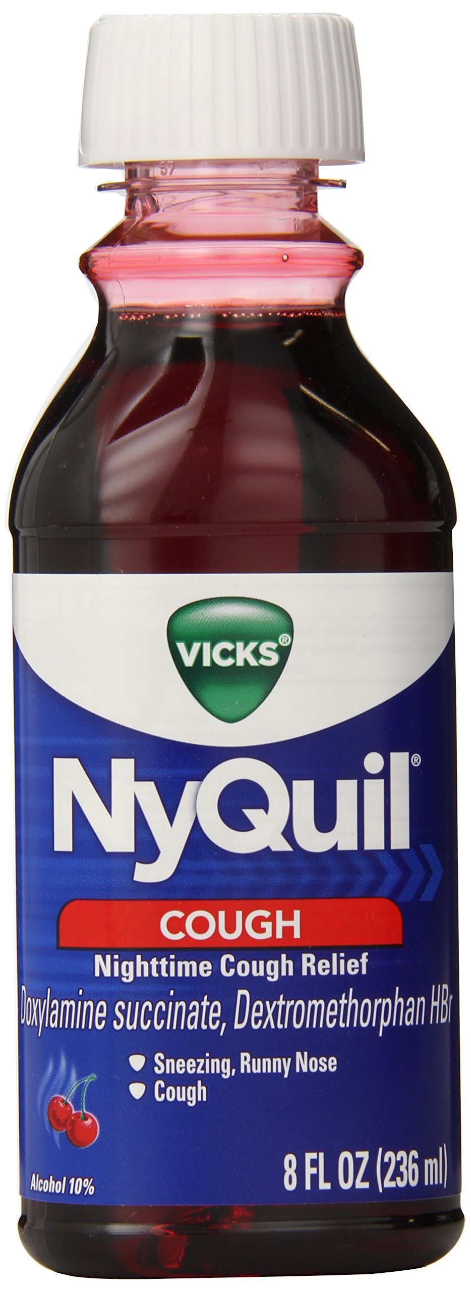 Vicks NyQuil Cough Night time Relief Cherry Flavor Liquid, 8 Ounce (Pack of 12)