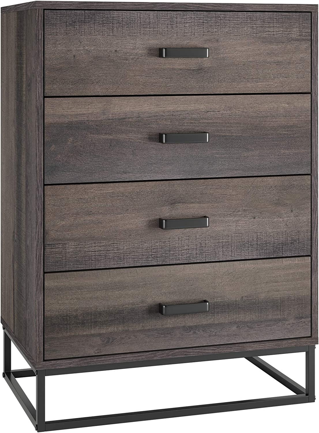 HOMECHO 4 Drawer Dresser, Wide Chest of Drawers, Wood Storage Organizer Unit Floor Cabinet with Sturdy Metal Frame for Home Office (Brown)