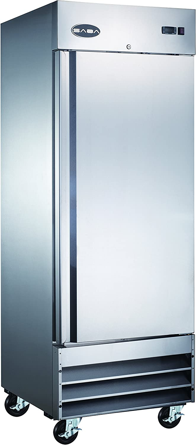 SABA One Door Commercial Refrigerator Stainless Steel 23 Cubic Ft.