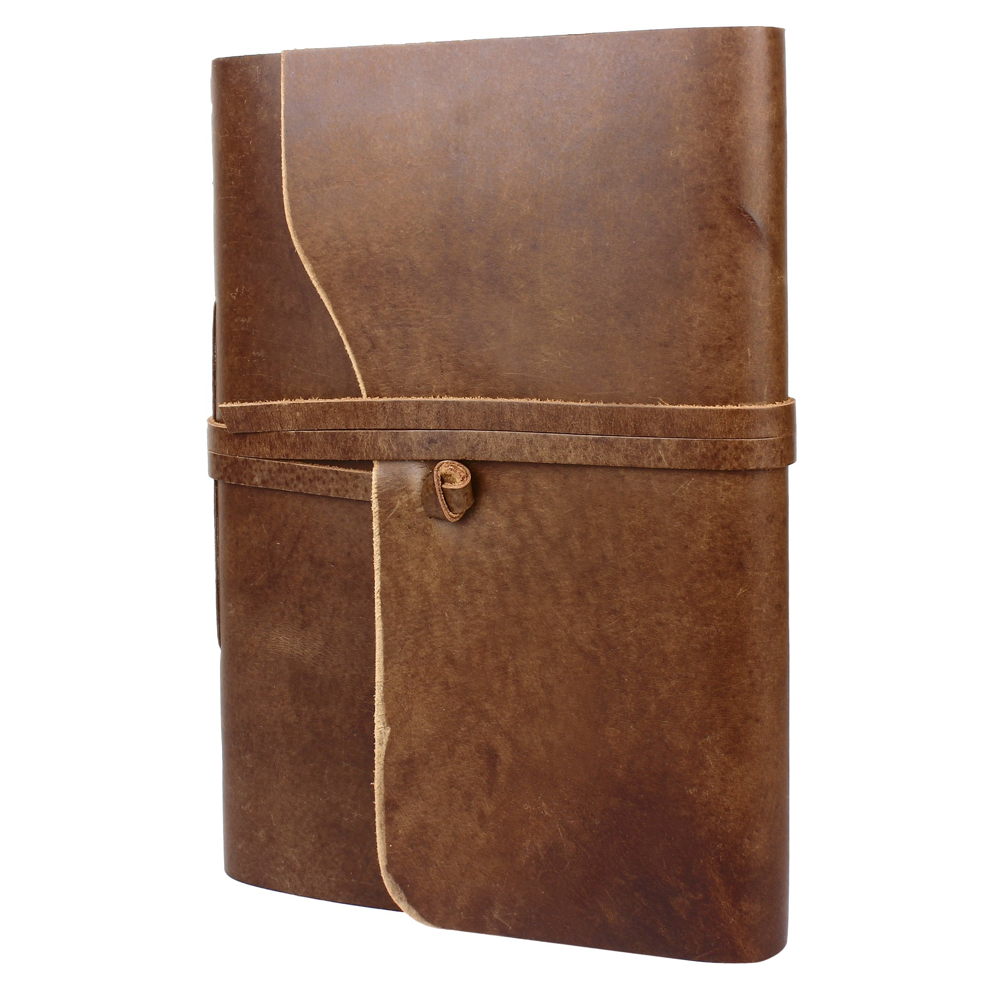 Rustic Town Genuine Leather Photo Album with Gift Box - Scrapbook Style Pages (Large, Brown)