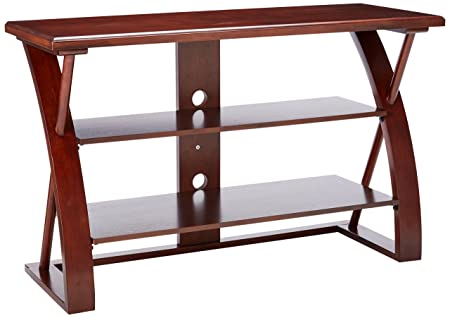 Roundhill Furniture Solid Wood TV Stand, Brown