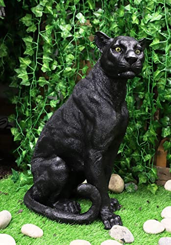 Ebros Gift Sitting Large Black Panther Statue 20.5″ Tall Wildlife Black Jaguar Cougar Giant Cat Ghost Forest Hunter Sculpture Home and Garden Patio Decorative