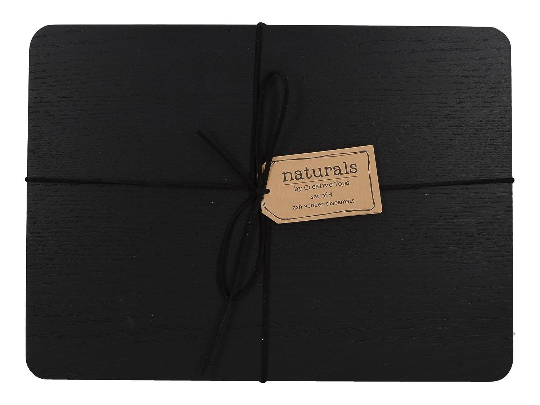CREATIVE TOPS Naturals Placage fr/êne Sets de Table 29.5/x 21/x 0.5/cm Bois 30/x 21/cm Noir Lot de 4