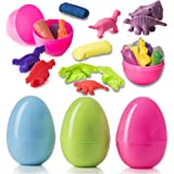 Prextex Jumbo Surprise Easter Eggs Filled with Clay Dough and 3D Dinosaur Toys Shapes Fun Dough Eggs