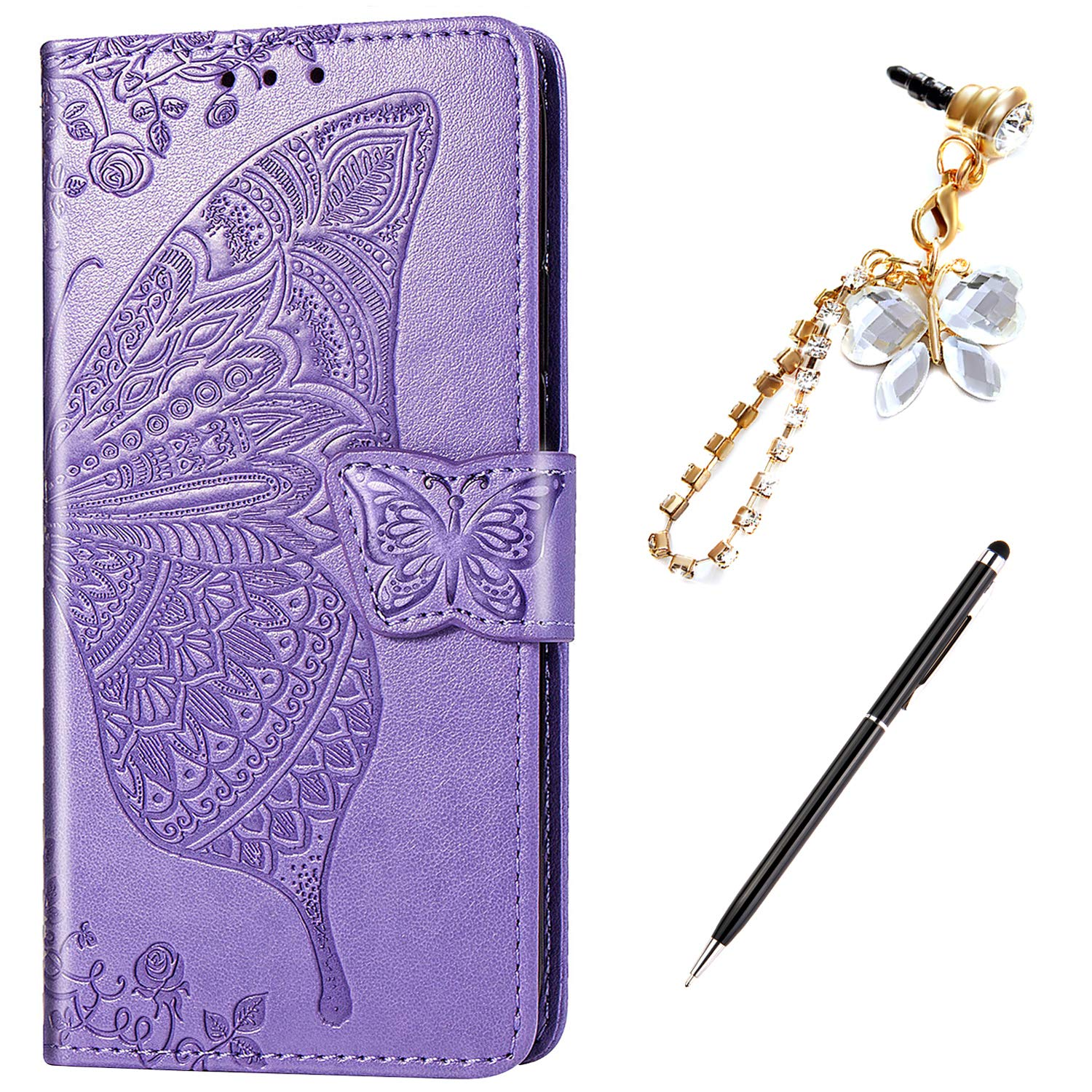 LG K40 Case,LG K12 Plus Case,LG X4 2019 Case,Embossing Mandala Butterfly Rose Vine Flip Wallet Case PU Leather Stand Card Slots Case Cover + Dust Plug Stylus for LG K40 Wallet Case,Light Purple by ikasus