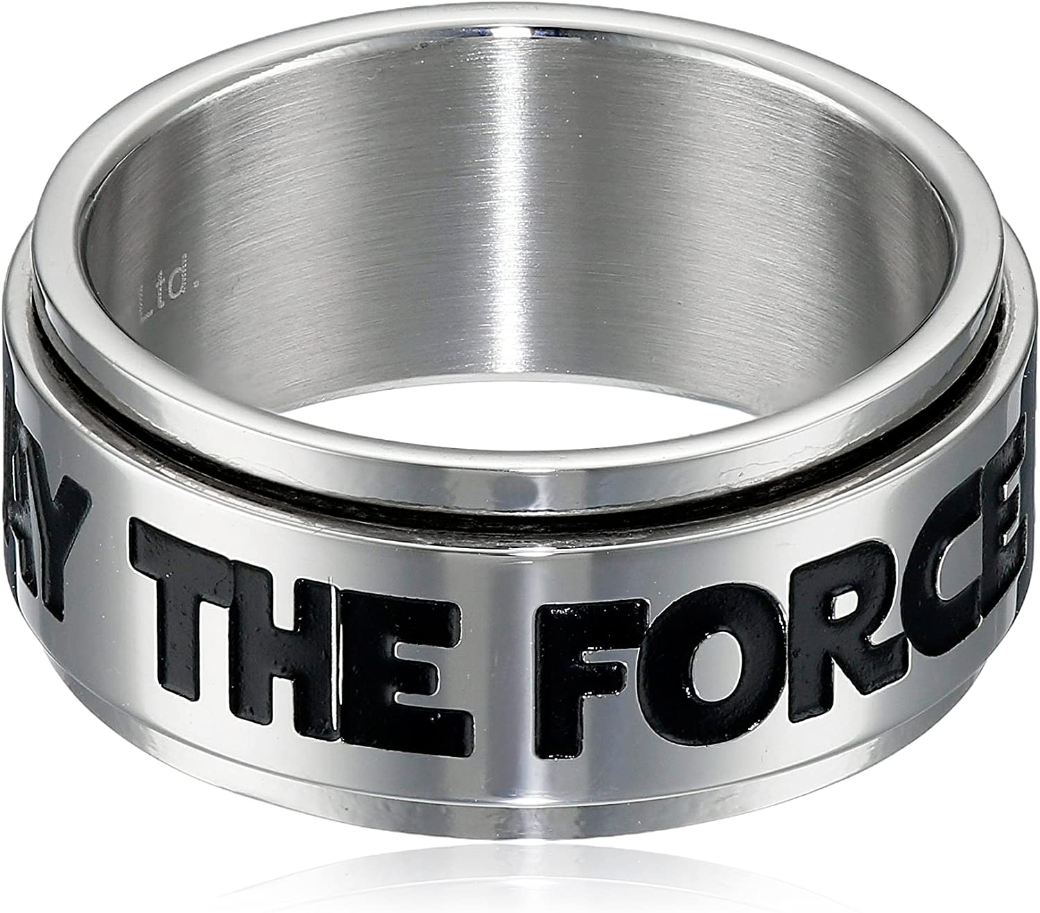 Star Wars Jewelry Men's May The Force Be with You Stainless Steel Spinner Ring