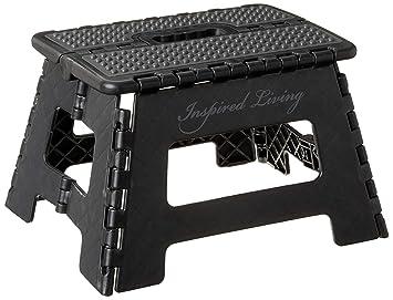 Pleasing Inspired Living Folding Step Stool Heavy Duty Stepstool 9 High Black Pdpeps Interior Chair Design Pdpepsorg