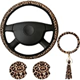 4 Pieces Leopard Print Car Accessories Set, Leopard Steering Wheel Cover, Leopard Car Coasters and Leopard Keyring Bracelet f