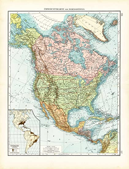 Amazon.com: Antique Map-NORTH AMERICA-CANADA-MEXICO-USA-BLACK ...