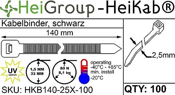 Heikab 100 Kabelbinder 140 X 2 5 Mm Uv Beständig Mindestzugfestigkeit 80n 8 1 Kg Schwarz Baumarkt