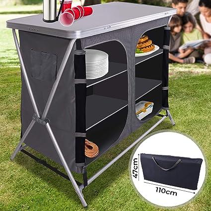 MIADOMODO Armario Cocina Camping Plegable - con 6 Compartimentos de Almacenaje, Aluminio - Mueble Cocina Camping, Armario Cocina Plegable, Estructura ...