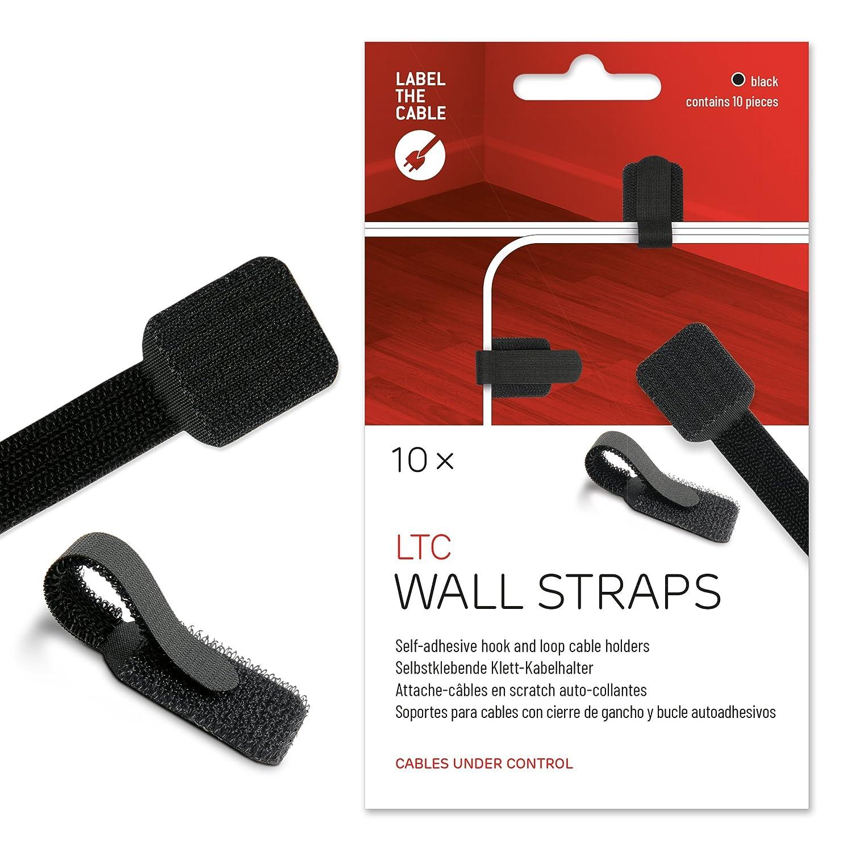 Label-the-cable porte-câble autocollant avec scratch, guide-câble, attache-câble, fixation de câbles, serre-câble (scratch), pour fixation au mur ou au bureau / Label-the-cable WALL, 10 unités, noir, Label-the-cable 3110 LTC LTC 3110 Accessoires PC