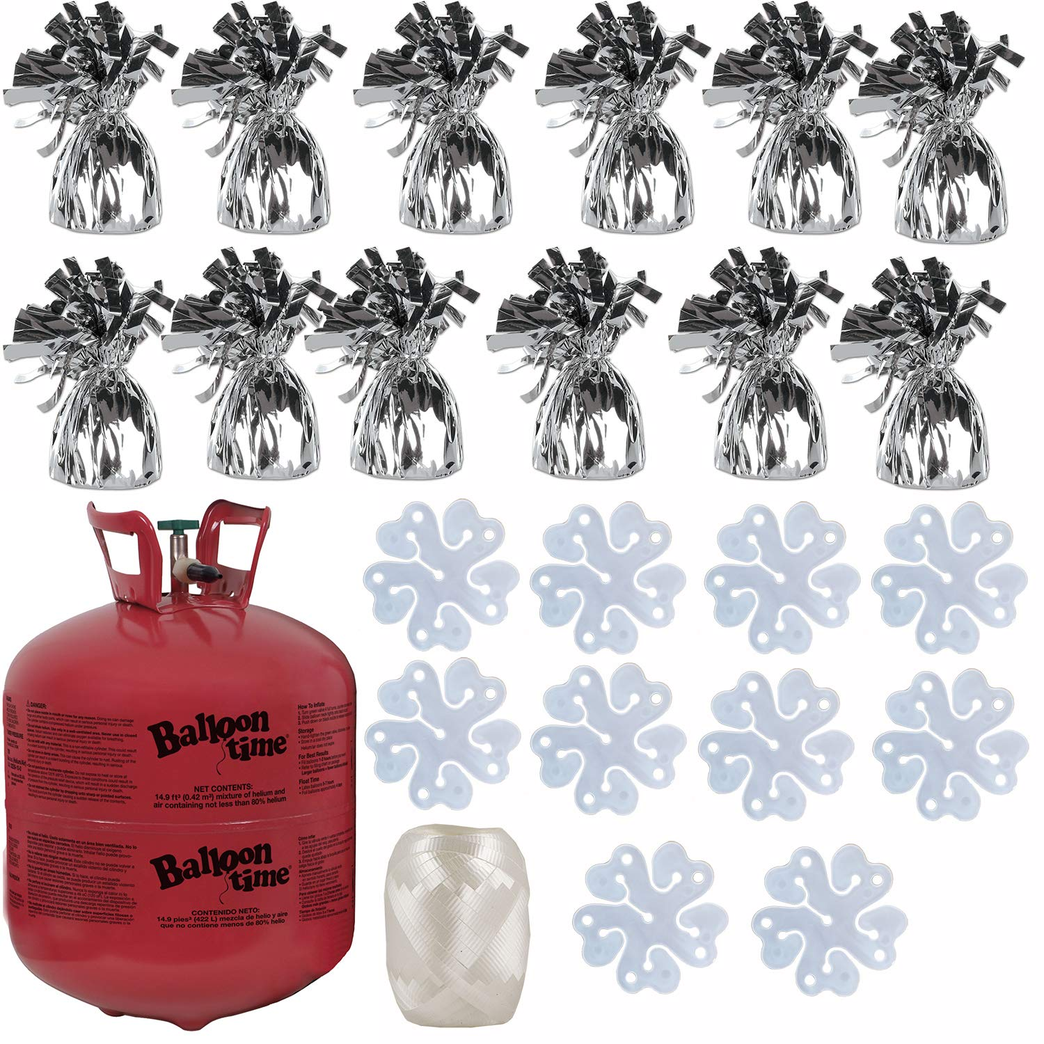Balloon Time Disposable Helium Tank 14.9 cu.ft - 12 Silver Balloon Weights + 10 Flower Shape Balloon Clips + Curling Ribbon