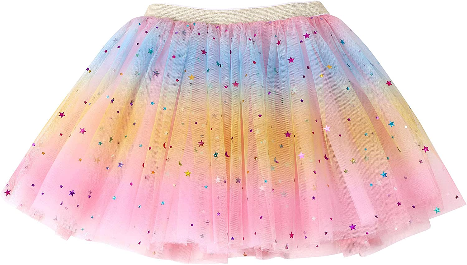 WEUIE Layered Ballet Tulle Rainbow Tutu Skirt for Little Girls Dress Preschooler Stars Sequins Party Princess Skirts