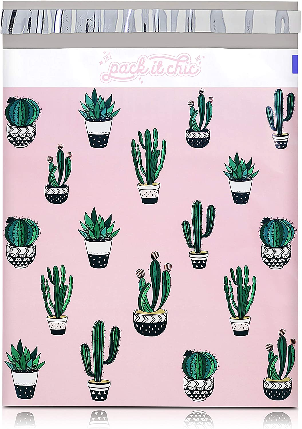 Pack It Chic - 10X13 (100 Pack) Cactus & Succulents Poly Mailer Envelope Plastic Custom Mailing & Shipping Bags - Self Seal (More Designs Available) : Office Products